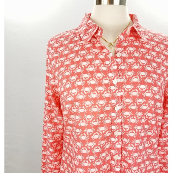 9fdc7e34 crown & ivy Tops | Crown Ivy Button Down Crab Shirt Large Light Red ...